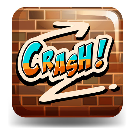 sprayed: Graffitti word saying crash on the brick wall Illustration