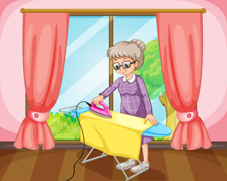 paquet: Old female standing and ironing yellow cloth in a room