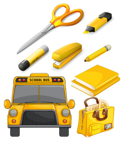 yellow notebook: School bus and other stationary Illustration