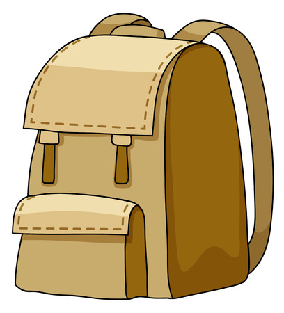 school girl: Brown camping bag on a white background Illustration