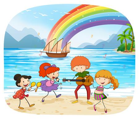 barco caricatura: Los ni�os y las ni�as cantando y bailando