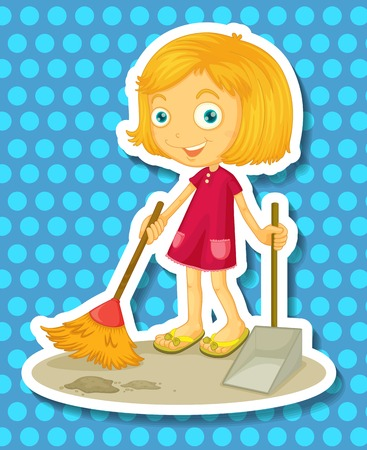 household chores: Cute girl sweeping the floor