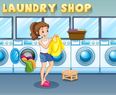 Meisje doet wasgoed in de wasserij winkel