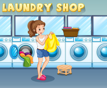 cartoon washing: Girl doing laundry in the laundry shop