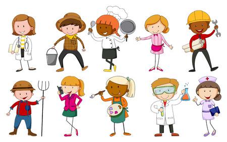 nurse uniform: People in uniform indicating their occupations Illustration