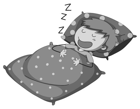 snoring: Boy sleeping and snoring in black and white Illustration