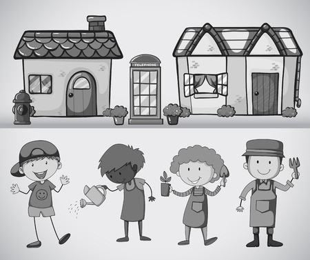 telephone booth: People standing in front of the houses doing gardening in black and white
