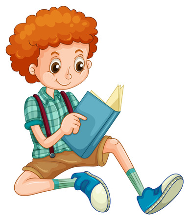 reads: Boy with red curly hair reading a book Illustration