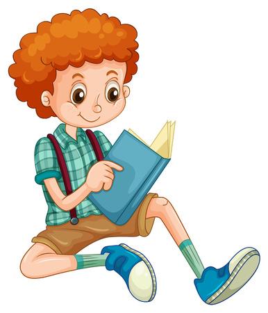 enfants: Garçon aux cheveux bouclés rouge en lisant un livre