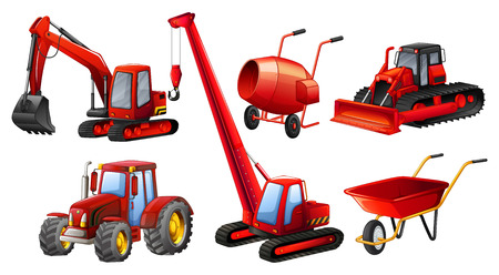 construction vehicle: Different kind of tractors and construction equipments