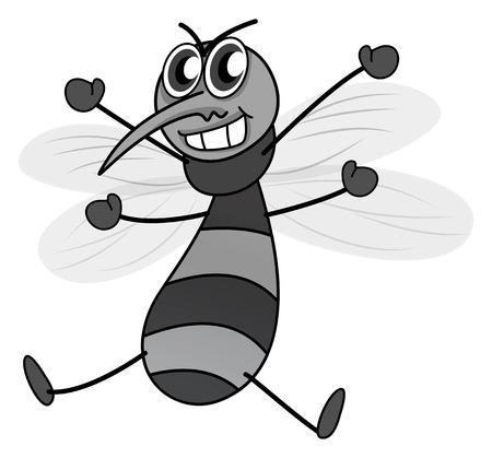 cunning: Cunning looking mosquito in black and white Illustration
