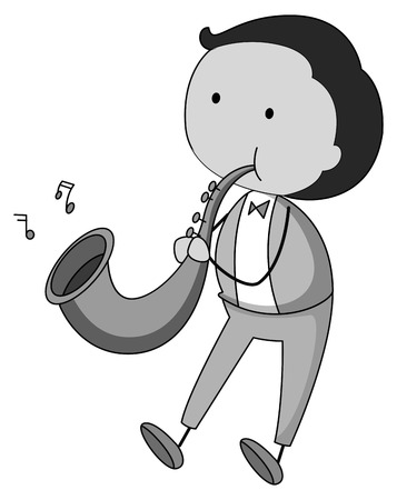 grown up: Man playing saxophone in black and white