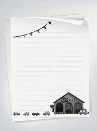白と黒のガレージと車のデザインの一筆箋  イラスト・ベクター素材