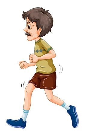 Old man jogging alone on a white background Illustration
