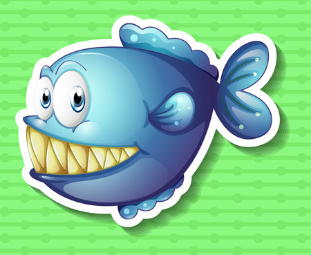 gill: Sticker of a blue fish smiling showing its big sharp teeth