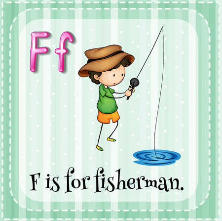 linguistic: Flashcard letter F is for fisherman