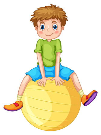 fit ball: Little boy sitting on a yellow ball