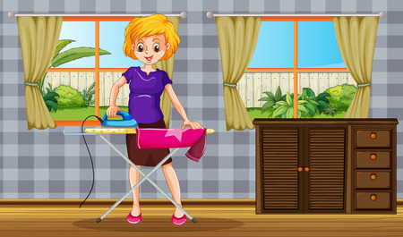 iron curtains: Woman standing and ironing a shirt in a room with garden view behind