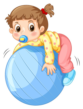 toddler: Girl toddler playing with blue ball