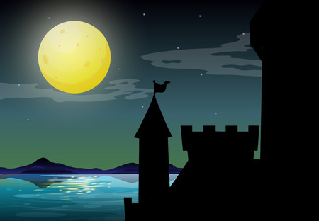 the citadel: citadel by the lake on fullmoon night