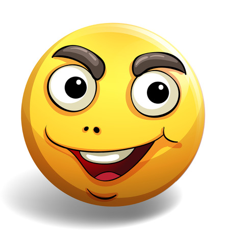 motivated: Yellow emoticon with motivated facial expression