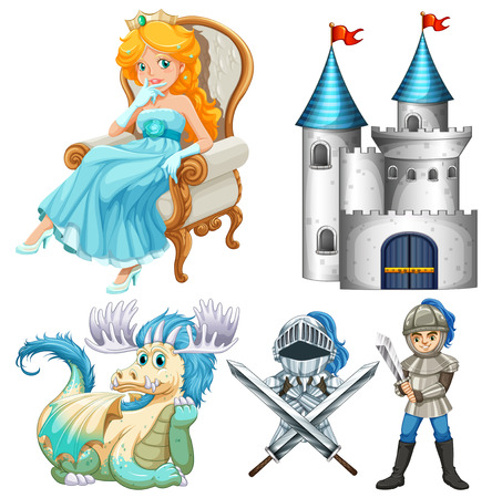 citadel: Set of fairy tales with knight and citadel Illustration