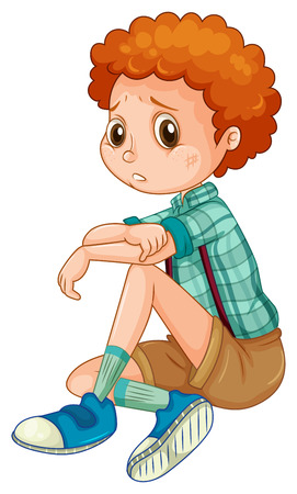 boy sitting: Depressed boy with bruises looking lonely Illustration