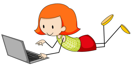 girl laptop: Little girl typing on the laptop computer Illustration