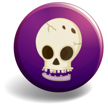 scary halloween: Halloween theme badge with a skull picture