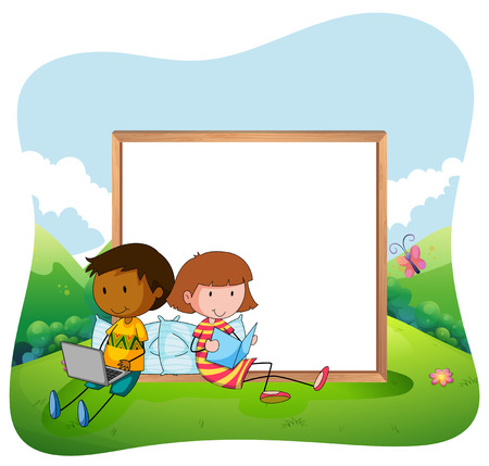 nautral: Children sitting in a garden reading with a black white board behind