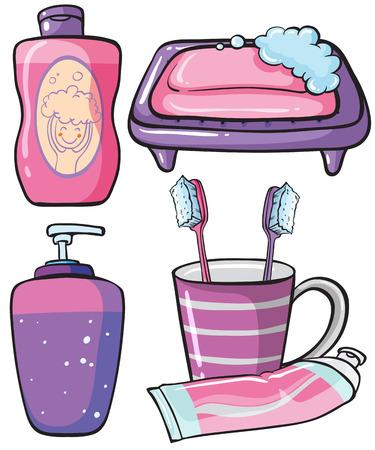 champu: Conjunto de bathroomware con champú y jabón Vectores