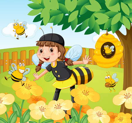 bee garden: Girl in bee costume standing in a garden full of bees and flowers with a beehive on a tree