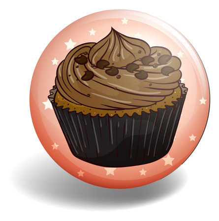 dairy product: Chocolate cupcake in round badge Illustration