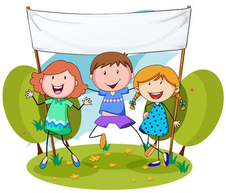 niños con pancarta: Los niños de pie en un parque con una pancarta en blanco detrás