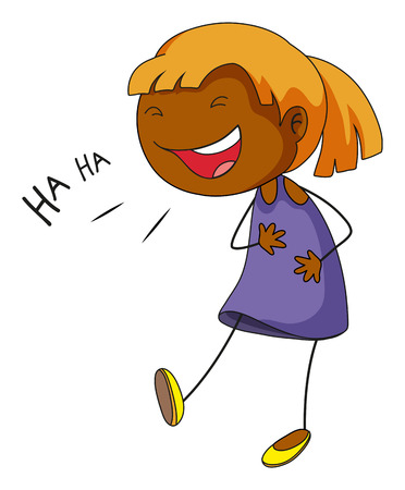 child laughing: Little girl laughing and smiling Illustration
