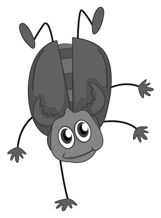 somersault: Bug doing somersault in black and white Illustration