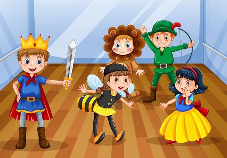 niños actuando: Los niños llevaban traje diferente para el juego Vectores