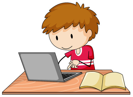 Boy working on his laptop with a book lying open on the table Ilustrace