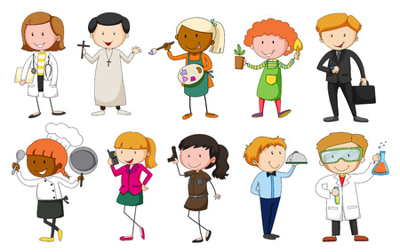 occupations: Set of people in different occupation uniform Illustration
