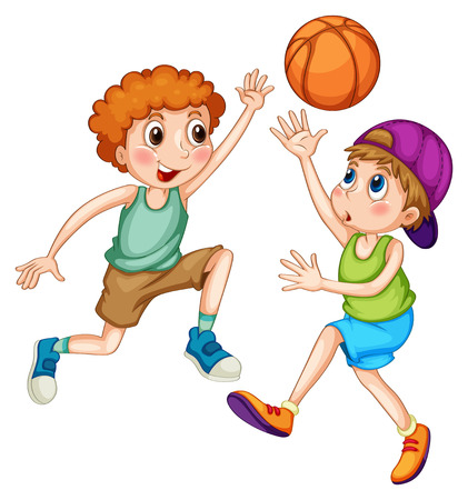 Two boys playing basketball together