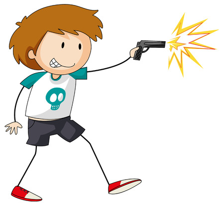 role play: Boy with a gun in his hand shooting at someone