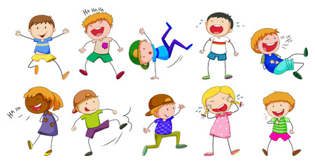 dancing: Set of boys and girls showing different emotions