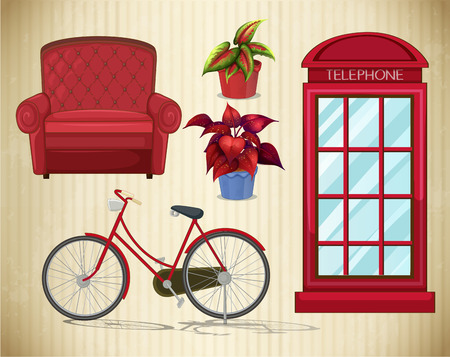 telephone booth: Bicycle and other things in red color