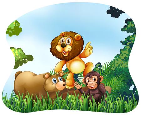 wild living: Wild animals living in the jungle Illustration