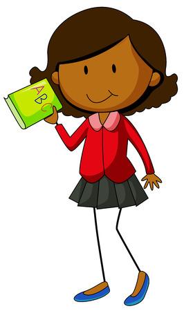 english girl: Happy girl holding an English book