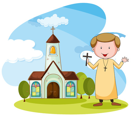 believes: Priest standing in front of the church