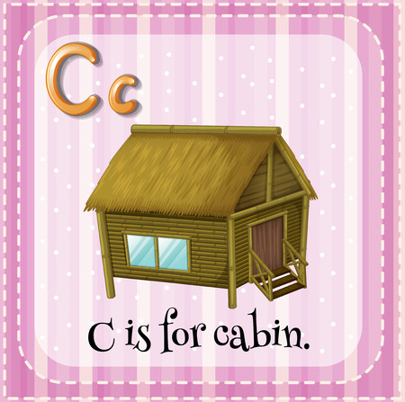 cabin: Flashcard of alphabet C is for cabin Illustration