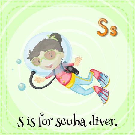 scuba diver: Flashcard of alphabet S is for scuba diver