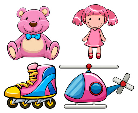 juguete: Conjunto de juguetes de color rosa en el diseño clásico Vectores