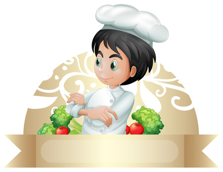 folded arms: Badge of a chef standing with folded arms and vegetable around